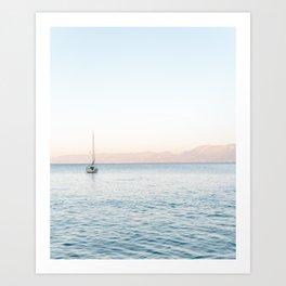 Boat After Sunset Crete, Greece   Travel Photography Print Light Colors  Art Print