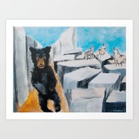 Berlin Bear with Howling Wolves Art Print