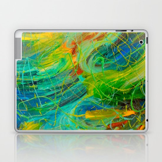 NAUTICAL GALAXY - Beautiful Aquatic Blue Green Ocean Universe Abstract Acrylic Painting Gift Decor Laptop & iPad Skin