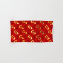 Gold Mandarin Ducks and Chinese love symbol Pattern Hand & Bath Towel