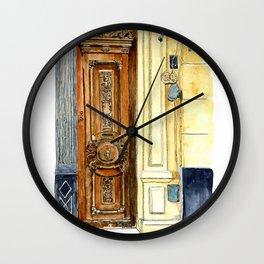 Carved Wooden Door in Old Havana, Cuba Wall Clock
