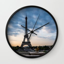 Eiffel Tower Paris Before the Storm Wall Clock