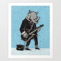 rhino Art Prints featuring Rhino by Ronan Lynam