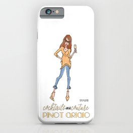 Cocktails And Couture Pinot Grigio Wine Diva (Black text) iPhone Case