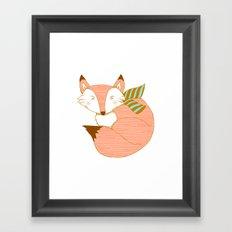 Fashionable Fox - Peach Framed Art Print