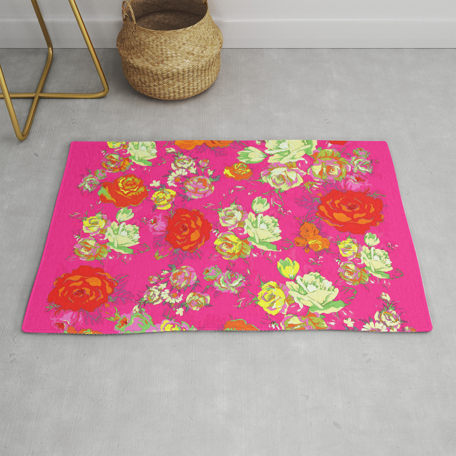 Picture of: Vintage Inspired Floral In Hot Pink Rug By Melissapolomsky Society6