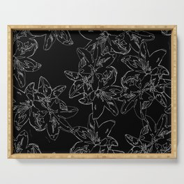 black and white line art flowers Serving Tray