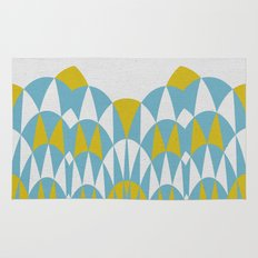 Modern Day Arches Blue and Yellow Rug