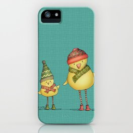 Two Chicks - teal iPhone Case