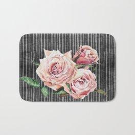 Watercolor Flowers on Dark Burned Wood Bath Mat