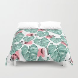 Watercolor tropical leaves abstract Duvet Cover