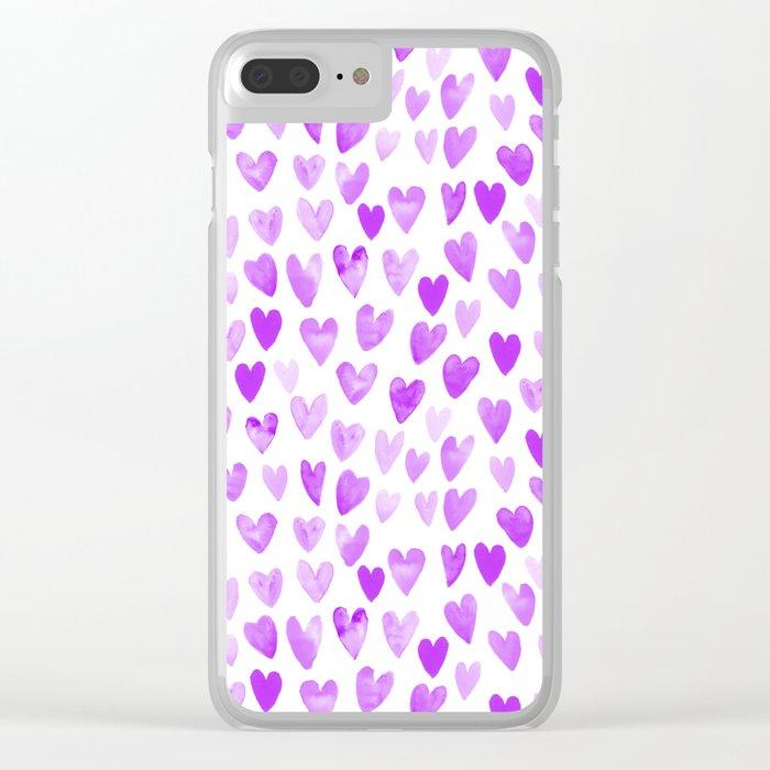 Watercolor Hearts purple pantone love pattern design minimal modern valentines day Clear iPhone Case
