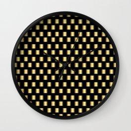 Gold Metallic Squares Wall Clock