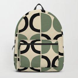 Mid Century Modern Half Circle Pattern 538 Beige Green and Black Backpack