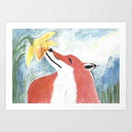 Fox and Daffodil Art Print