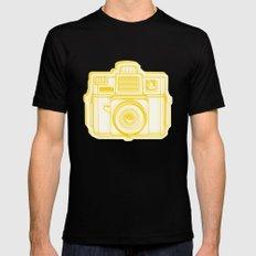 I Still Shoot Film Holga Logo - Reversed Yellow Mens Fitted Tee Black SMALL