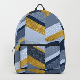 Chevron with Textures / Gold Effect and Denim Blue Backpack