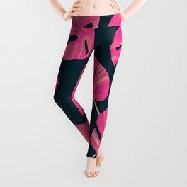 Tropical Pink leaves Leggings