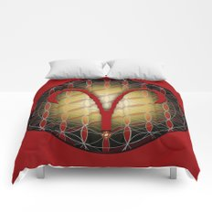 Flower of Life ARIES Astrology Design Comforters