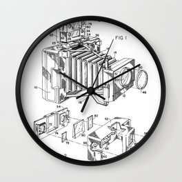 Vintage Camera Patent - Photographic Camera Art - Black And White Wall Clock