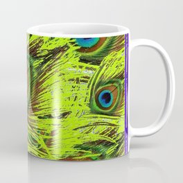 PURPLE ART NOUVEAU GREEN PEACOCK FEATHERS ABSTRACT ART Coffee Mug