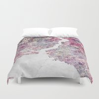 istanbul Duvet Covers featuring Istanbul Map by MapMapMaps.Watercolors