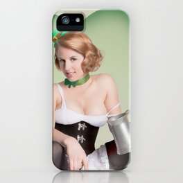 """Luck of the Irish"" - The Playful Pinup - St. Patrick's Day Pinup Girl by Maxwell H. Johnson iPhone Case"