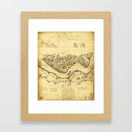 Original West Point Survey Map October 24th-27th 1783 Framed Art Print