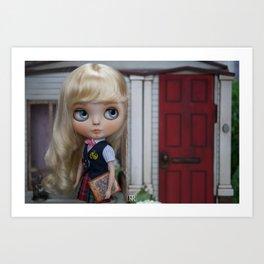 Erregiro Blythe Custom Doll Anita Going to School Art Print