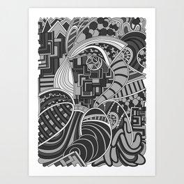 Wandering 48: grayscale Art Print