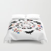 psychology Duvet Covers featuring Rorschach test subjects' perceptions of inkblots psychology   thinking Exner score  by Luxorama
