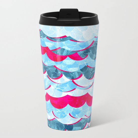 Abstract Sea Waves Design Metal Travel Mug