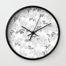 Abstract Black White Romantic Roses Floral Wall Clock