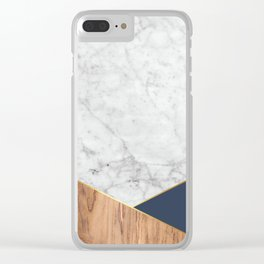 White Marble Wood & Navy #599 Clear iPhone Case