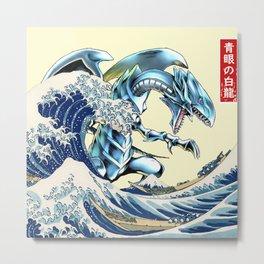 blue eyes white dragon Metal Print