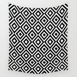 black and white symetric patterns 5- Wall Tapestry
