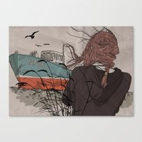 wanderlust Canvas Prints featuring Wanderlust by Ruth Veres