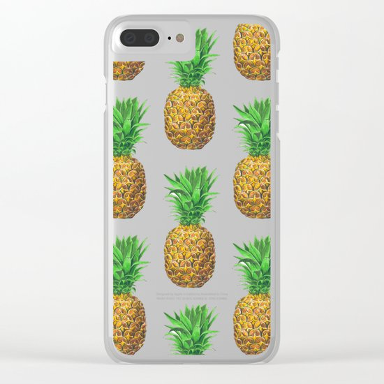 Pineapples, tropical fruit pattern design Clear iPhone Case