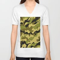 camouflage V-neck T-shirts featuring CAMOUFLAGE by I Love Decor