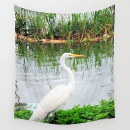 The Great White Egret:) (pointillism) | Large White Bird | Nature Photography Wall Tapestry