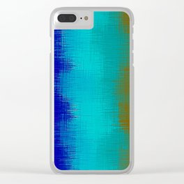 pink green blue and brown plaid pattern Clear iPhone Case