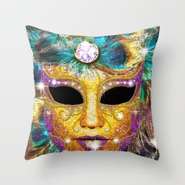 Golden Carnival Mask Throw Pillow