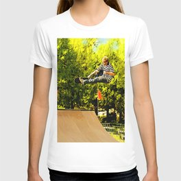 Flying High on Skateboard Ramp at the Park T-shirt