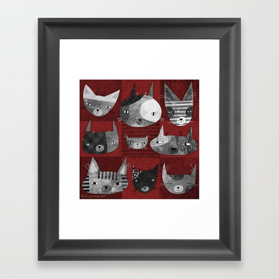 GRUNGE CATS Framed Art Print