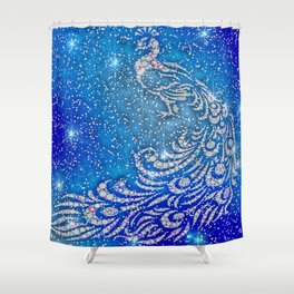 Sparkling Blue & White Peacock Shower Curtain