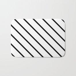 Diagonal Lines (Black & White Pattern) Bath Mat