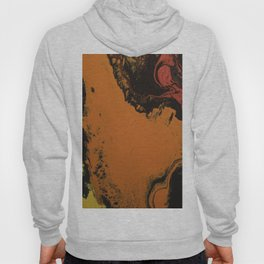Fluid Art Acrylic Painting, Pour 5, Black, Red, Orange, & Yellow Blended Color Hoody
