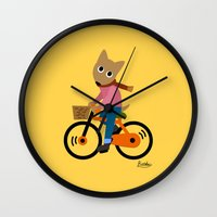 cycling Wall Clocks featuring Sam's Cycling by BATKEI (Keiko W)