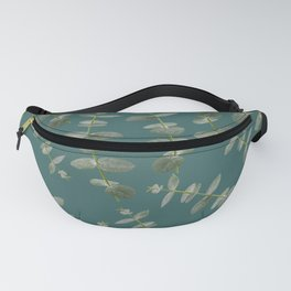 Eucalyptus Patterns with Aqua Background Realistic Botanic Patterns Organic Design with Real Plants Fanny Pack