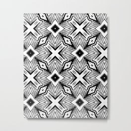 Black and White - Woodcut Etching Cross Geometric Metal Print